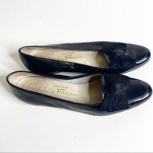 Salvatore Ferragamo black patent leather bow flats